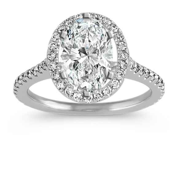 Diamond Halo Engagement Ring for 3.00 Carat Oval