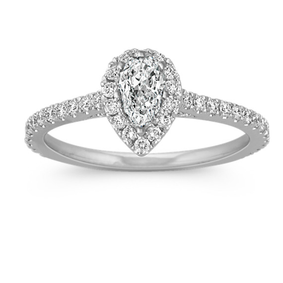 Halo Diamond Engagement Ring for 0.50 Carat Pear Shape