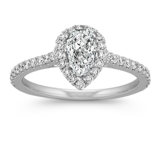 Halo Diamond Engagement Ring for 0.75 Carat Pear Shaped