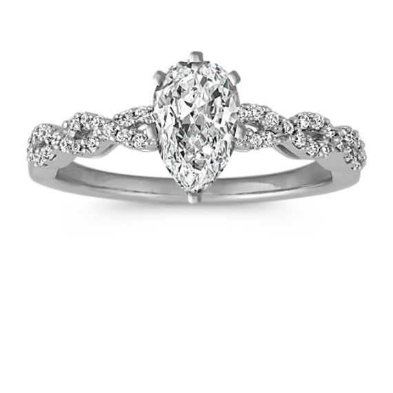 Round Diamond Infinity Engagement Ring with Pave-Setting