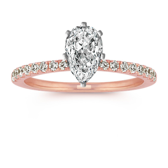 Round Diamond Engagement Ring with Pave Setting in 14k Rose Gold