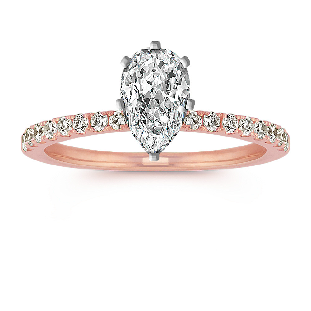 Round Diamond Engagement Ring with Pave Setting in 14k Rose Gold ...