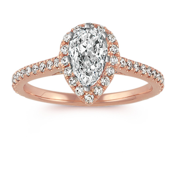 c507543407db Pear-Shaped Halo Diamond Engagement Ring in 14k Rose Gold