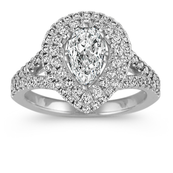 Pear-Shaped Halo Diamond Engagement Ring with Pave Setting