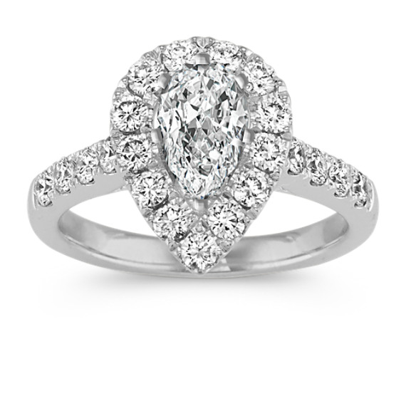 Pear-Shaped Halo Engagement Ring with Round Diamonds in 14k White Gold