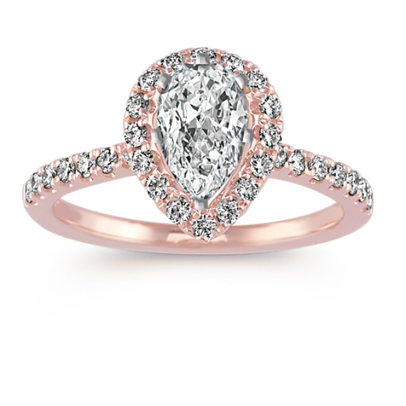 Diamond Pear-Shaped Halo Engagement Ring