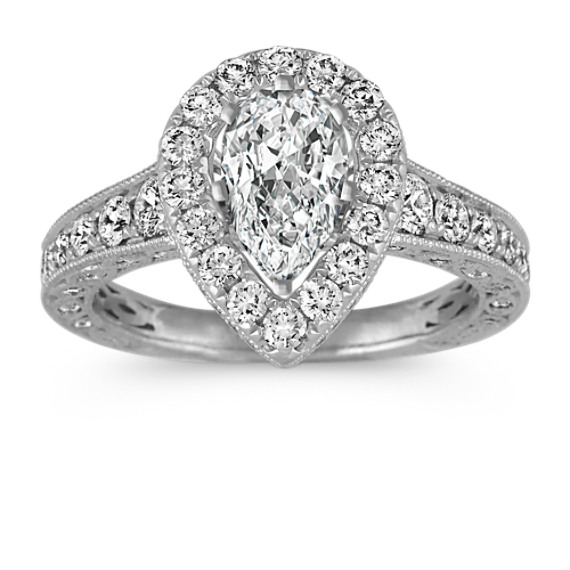 Vintage Pear-Shaped Halo Engagement Ring