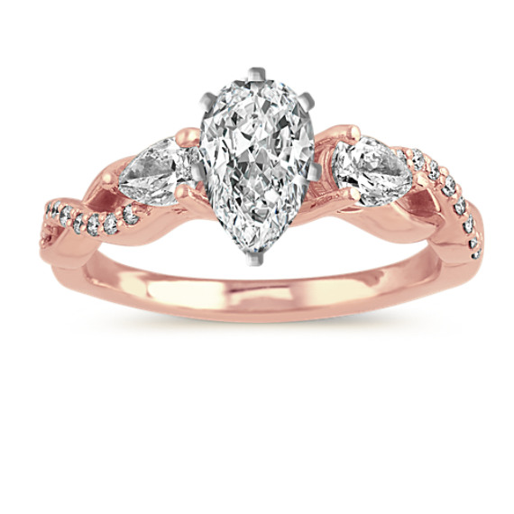 Infinity Diamond Engagement Ring in 14k Rose Gold