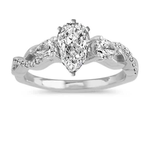 Infinity Diamond Engagement Ring in 14k White Gold