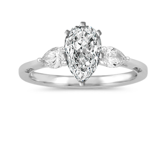 Pear-Shaped Diamond Three Stone Engagement Ring