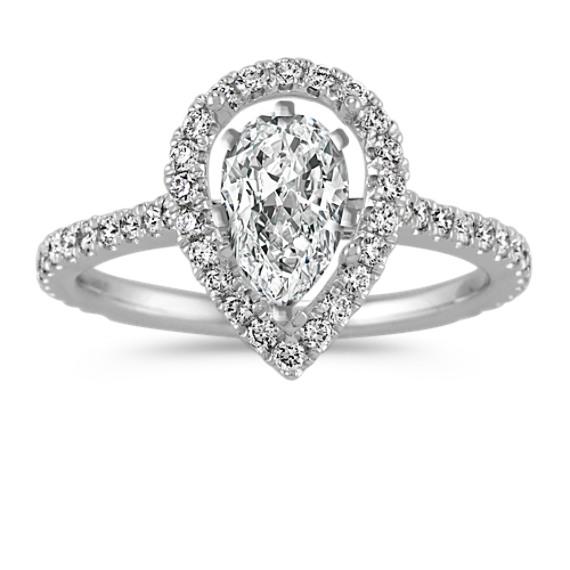 Pear-Shaped Halo Diamond Engagement Ring