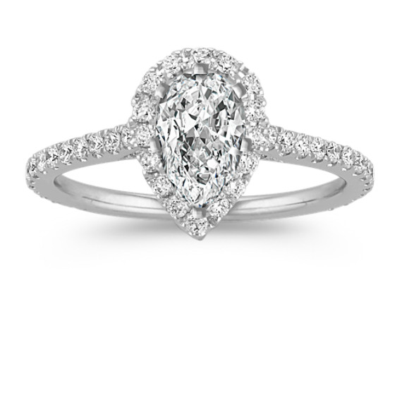 Halo Diamond Engagement Ring for 1.00 Carat Pear Shaped