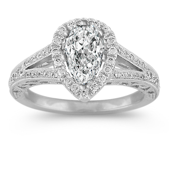 Pear-Shaped Halo Diamond Engagement Ring with Pave-Setting
