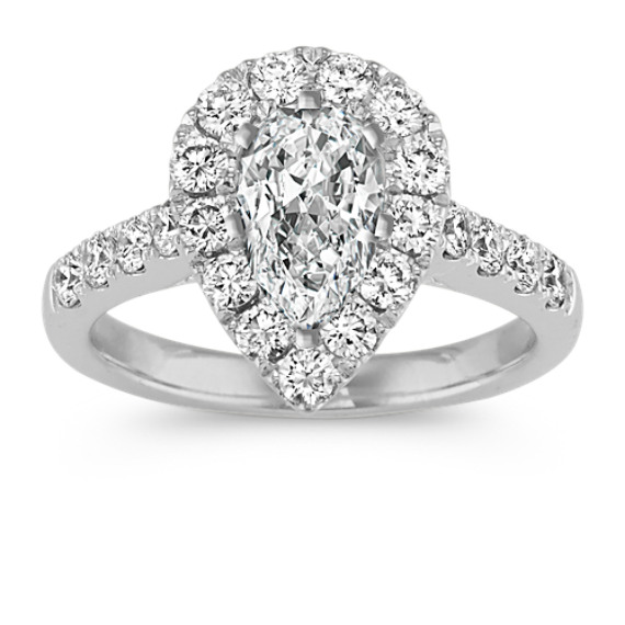 Pear-Shaped Halo Engagement Ring in Platinum