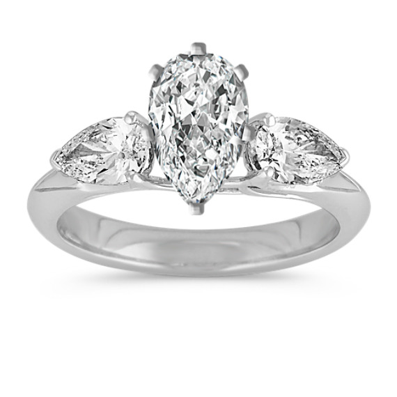 Pear-Shaped Diamond Three-Stone Engagement Ring