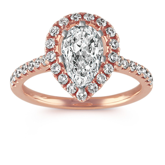 Pear-Shaped Halo Diamond Engagement Ring in 14k Rose Gold