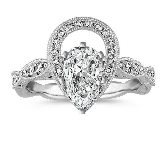 Vintage PearShaped Halo Diamond Engagement Ring in 14k White Gold
