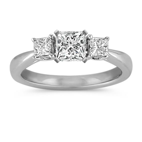 Princess Cut Three-Stone Diamond Engagement Ring