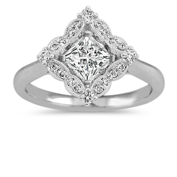 Vintage Halo Engagement Ring in 14k White Gold