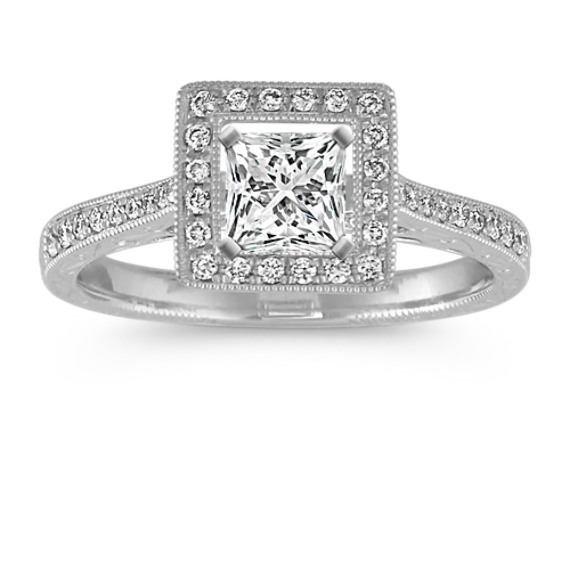 Princess Halo Vintage Engagement Ring with Round Diamonds