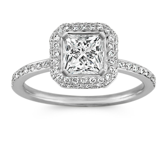 Princess Halo Engagement Ring with Pave-Setting