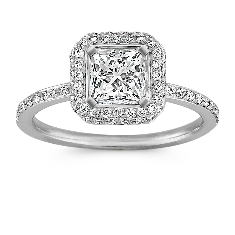 Princess Halo Engagement Ring With Pave Setting