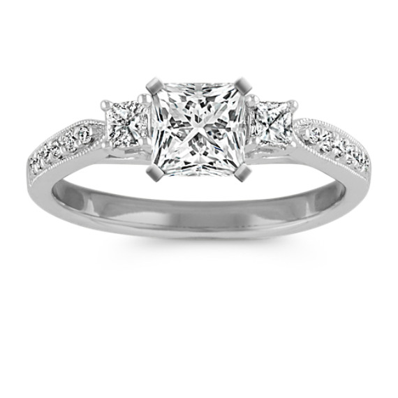 Three Stone Princess Cut And Round Diamond Engagement Ring Shane Co