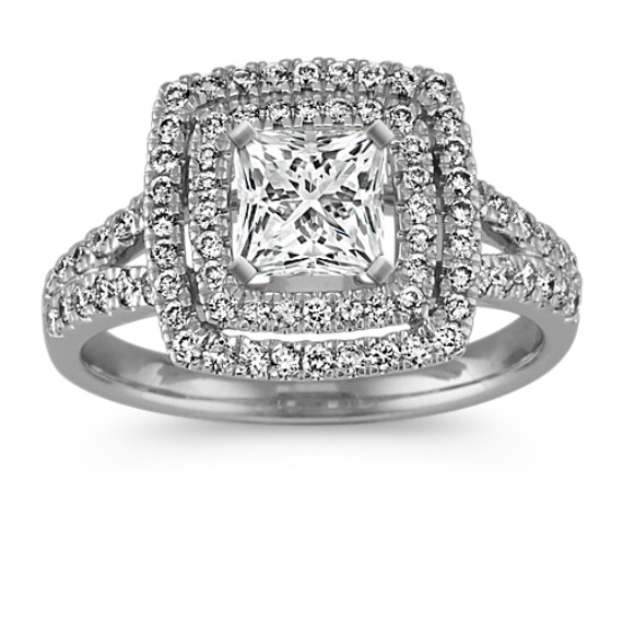 Double Halo and Split Shank Pave-Set Diamond Engagement Ring