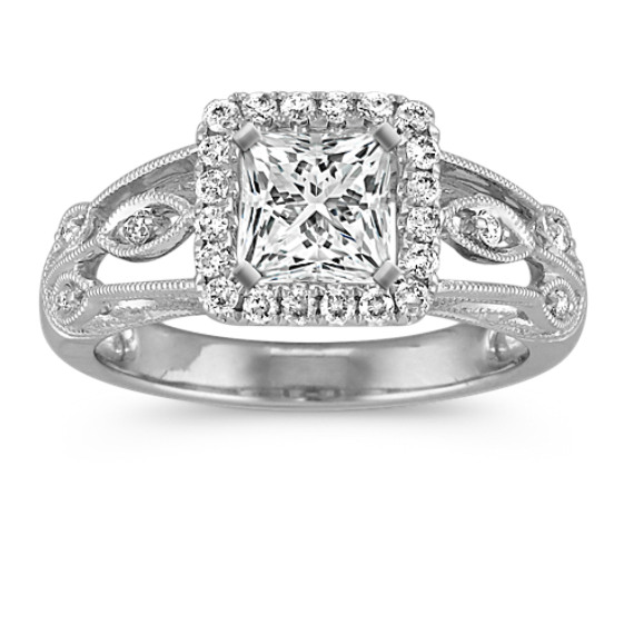 Vintage Halo Engagement Ring with Milgrain Detailing