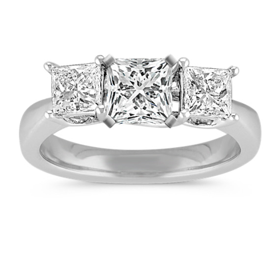 Princess Cut Diamond Three-Stone Engagement Ring