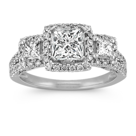 Three-Halo Diamond Engagement Ring