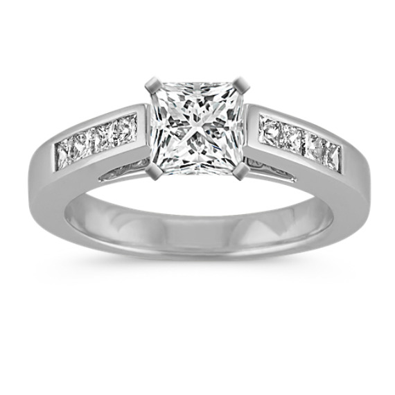 Classic Cathedral Engagement Ring with Channel-Set Princess Cut Diamonds