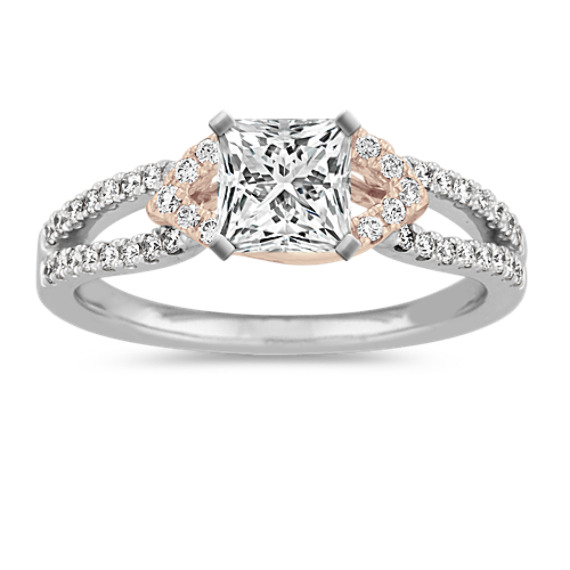 Swirl Engagement Ring in 14k White and Rose Gold