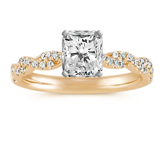 Round Diamond Infinity Engagement Ring with a Pave-Setting