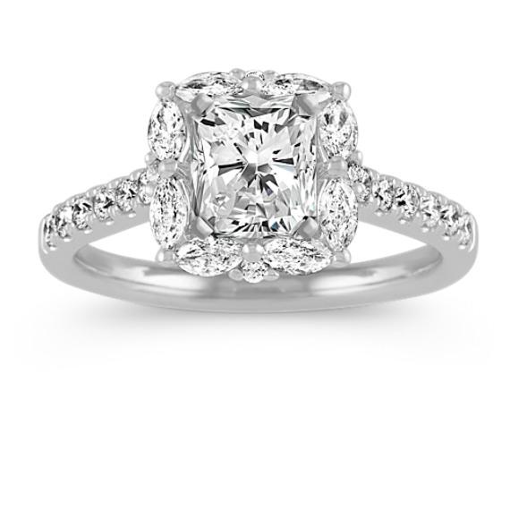 Jubilee Pave-Set Diamond Halo Engagement Ring