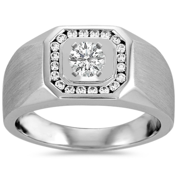 Pave-Set Round Diamond Mens Engagement Ring (11.5mm)