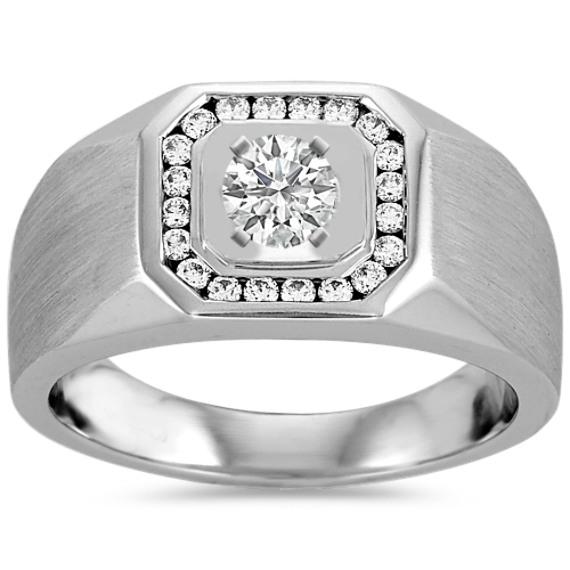Round Diamond Mens Engagement Ring (13mm)