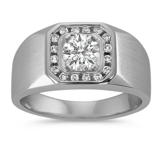 Channel-Set Round Diamond Mens Engagement Ring (11mm)