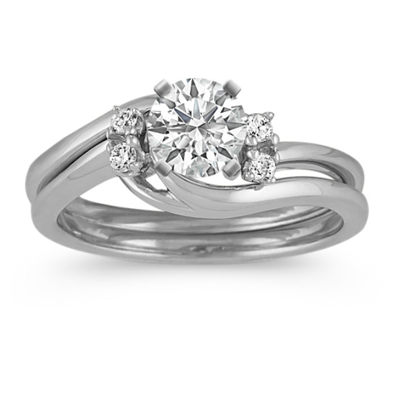 Swirl Wedding Set with Diamond Accents