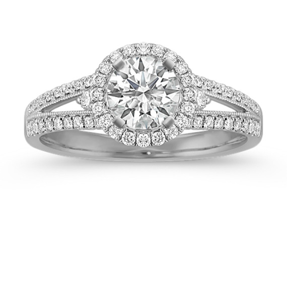 80596e119544c Round Halo Diamond Split Shank Engagement Ring