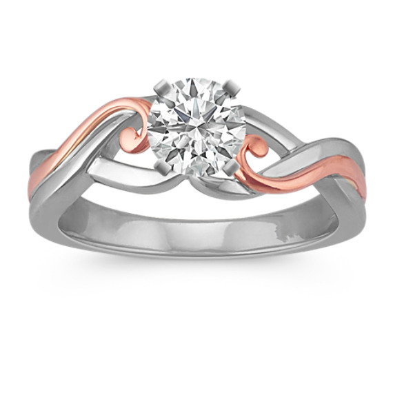 14k White and Rose Gold Swirl Ring