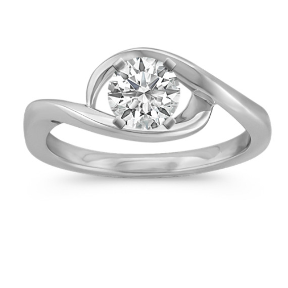 14k White Gold Swirl Ring