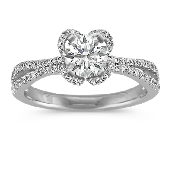 Petal Halo Engagement Ring with Pave-Set Round Diamonds