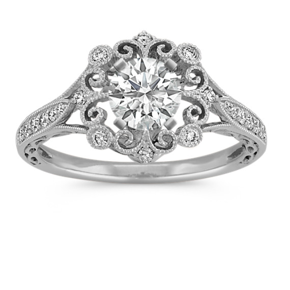 Vintage Round Diamond Engagement Ring in 14k White Gold