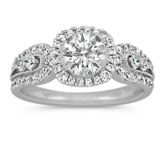 Vintage Diamond Engagement Ring with Pave-Setting