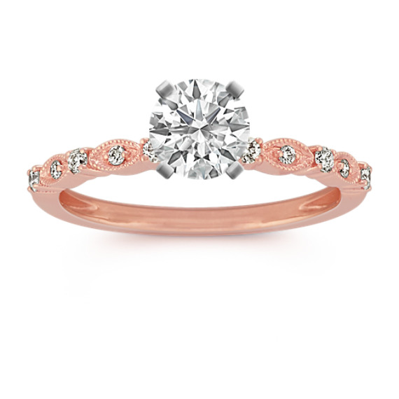 Round Diamond 14k Rose Gold Vintage Engagement Ring