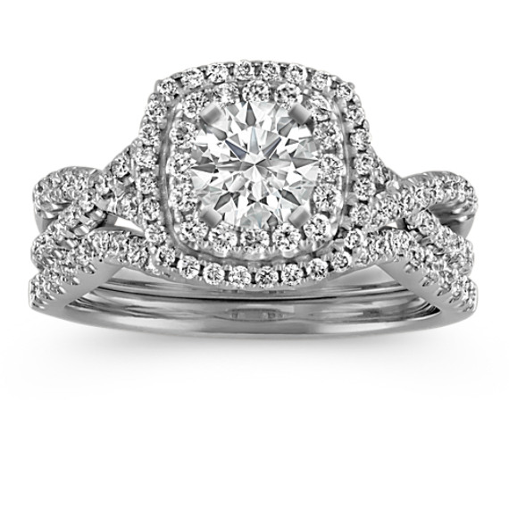 Square Double Halo Infinity Diamond Wedding Set
