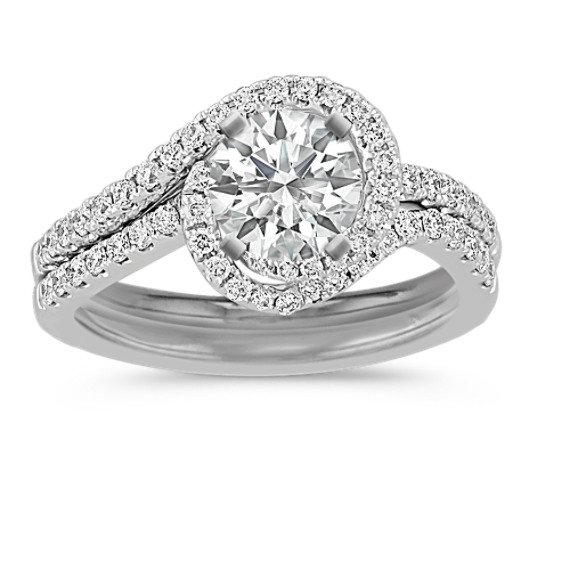 Interlocking Swirl Diamond Wedding Set With Pave Setting