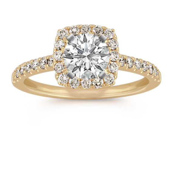 Pave-Set Halo Engagement Ring in 14k Yellow Gold