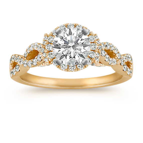 Infinity Halo Diamond Engagement Ring in 14k Yellow Gold
